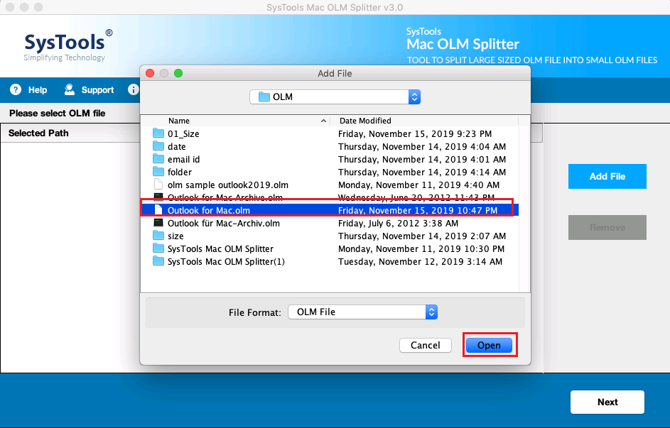 select olm file
